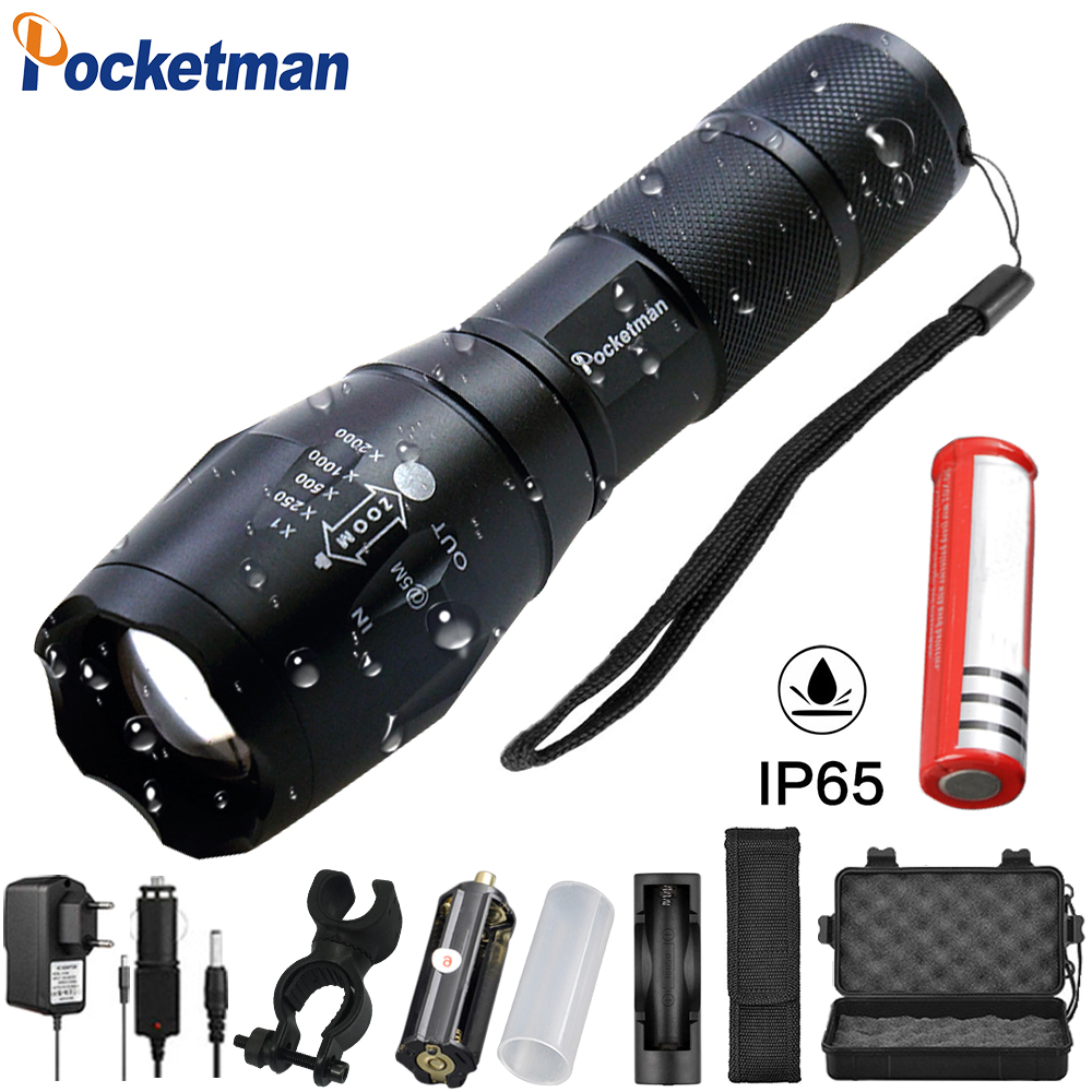 Lights & Lighting X800 Zoomable Xml T6 Led Tactical Flashlight+18650 Battery+charger+case Powerful Led Flashlight Rechargeable #4a27