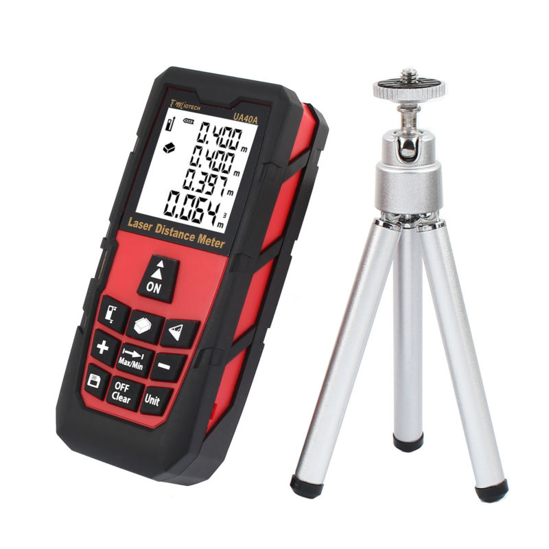 High Quality 196ft / 60m Portable Laser Measure Distance Meter Rangefinder Digital Laser Tape Range Finder Large LCD with Tripod