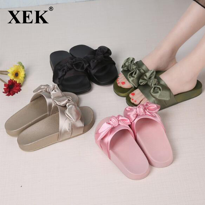 online store 1a992 8af79 Silk Bow Slides Women Summer Beach Shoes Woman No Fur ...