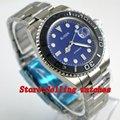 40 мм синий циферблат сапфировое стекло нержавеющая сталь черный керамический ободок светящиеся Мужские автоматические механические часы ...