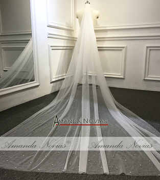 300cm Long Pearls Veil Only Ivory Color luxury full pearls bridal veil 1.5m width no comb