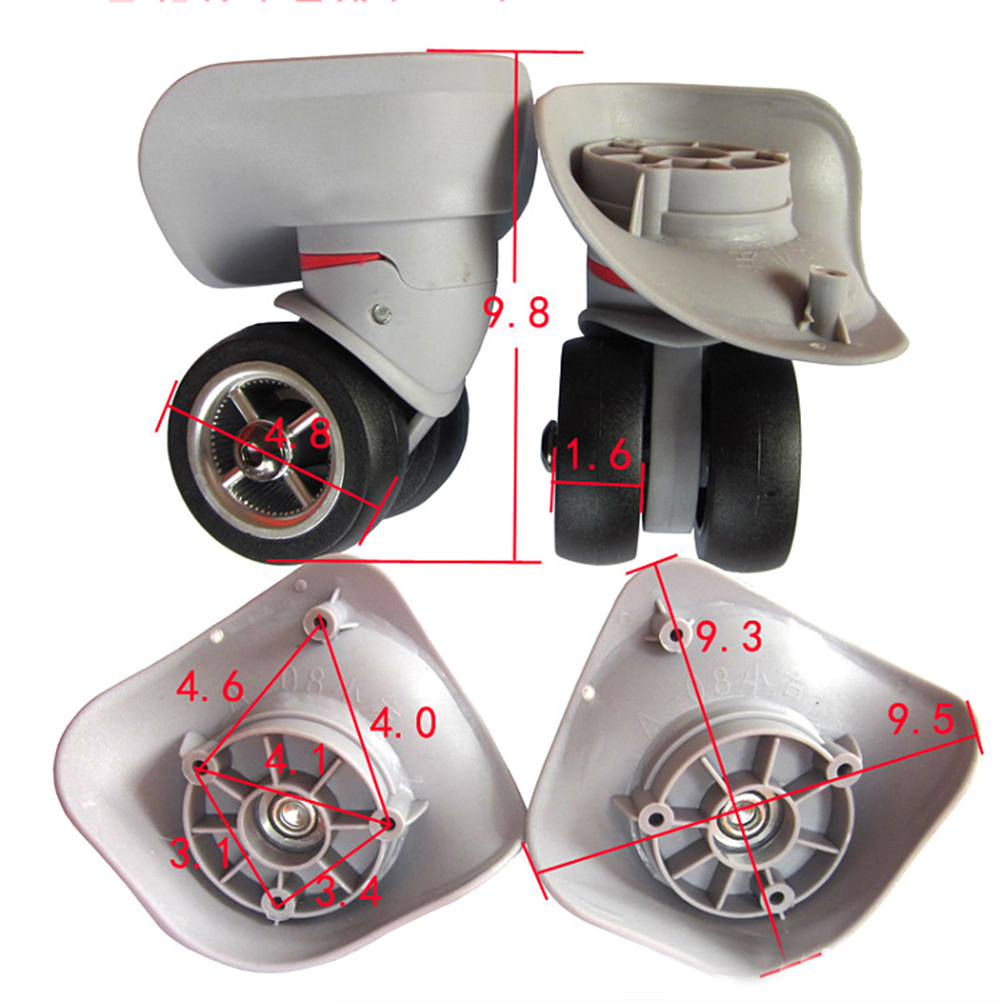 Trolley Case Luggage Wheel Repair Universal Travel Suitcase Parts Accessories Luggage Wheel Replacement Wheels Black/Gray