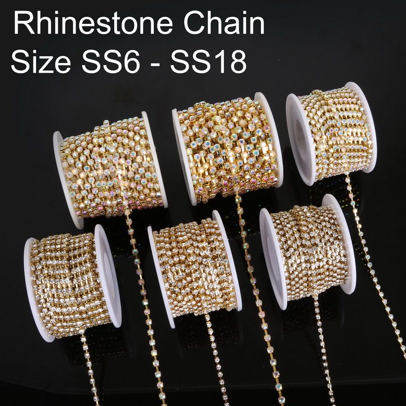 Rhinestones Chain 10 Yards Trimming Claw Chain SS6 Crystal Beads String Roll with Silver or Gold Bottom for DIY Crafts and Decorations