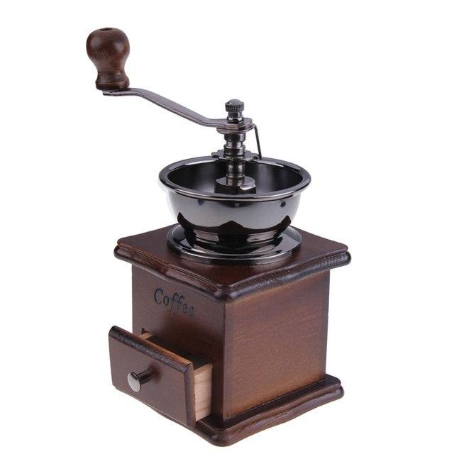Manual Coffee Grinder Retro Mini Coffee Hand Mill Wood Stand Coffee ...
