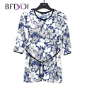 BFDADI New 2017 Spring Summer Women 3/4 T- shirt Flower Print Loose Long T Shirt Female Tee Large size 10219