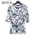 BFDADI Novo 2017 Mulheres Primavera Verão 3/4 T-shirt Da Flor de Impressão Camisa Longa T Solto Feminino Tee tamanho Grande 10219