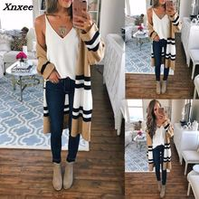 Outerwear & Coats Jackets Autumn Winter Long Sleeve Loose Casual Striped Sweater Cardigan coats and jackets women 2018 Xnxee