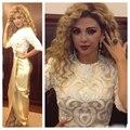 Sarahbridal Myriam Bordados Celebridade Vestidos Longos De Ouro 2015 New Sexy Bainha Red carpet Vestidos Frente Slit Vestidos de Festa