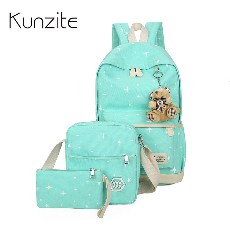 Fashion Satr Backpacks Set Canvas Printing Backpack Women Cute Lightweight Bookbag Middle High School Bags for Teenage Girls Bag hynes eagle 3 pcs set 3d letter bookbag boys backpacks school bags children shoulder bag mochila girls exo printing backpack