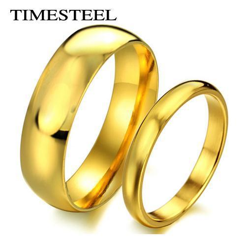 Tsr316 Fashion 316l Stainless Steel Gold Color Rings Engagement Ring Simple Plain