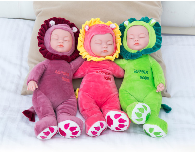 25/35cm Sleeping Baby Dolls Reborn with Cute Animal Plush Doll Children Playmate Bed Toys Silicone Reborn Baby Dolls with Music стоимость