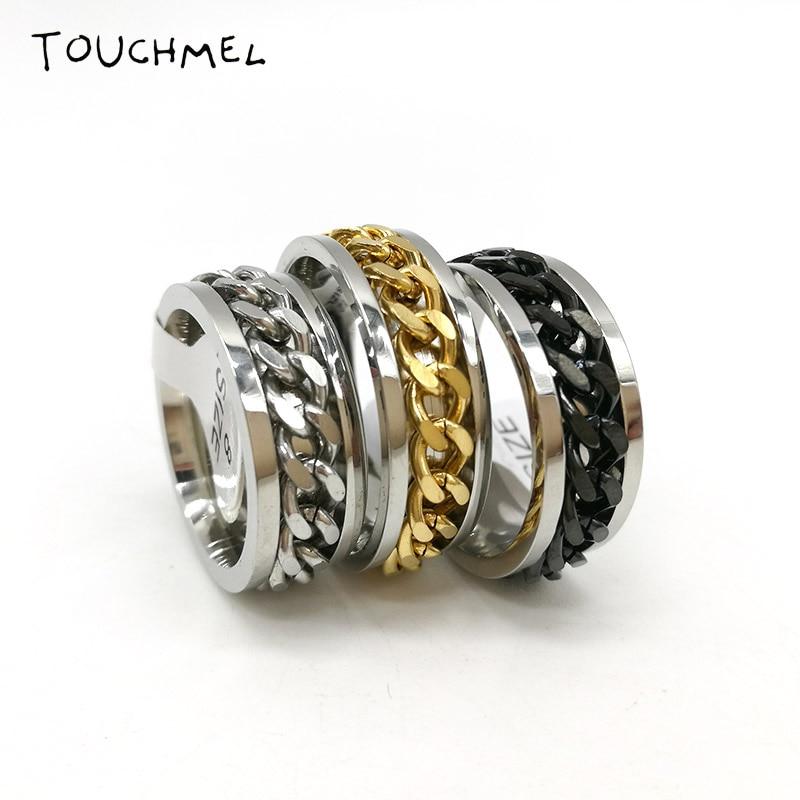 Finger Fidget Spinner Ring EDC Toy Stainless Steel Chain Ring