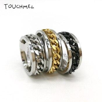 Finger Fidget Spinner Ring EDC Toy Stainless Steel Chain