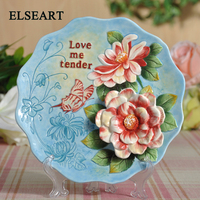 Ceramic rose love me tender wall dishes with plastic shelf porcelain decorative plates home decoration art and craft