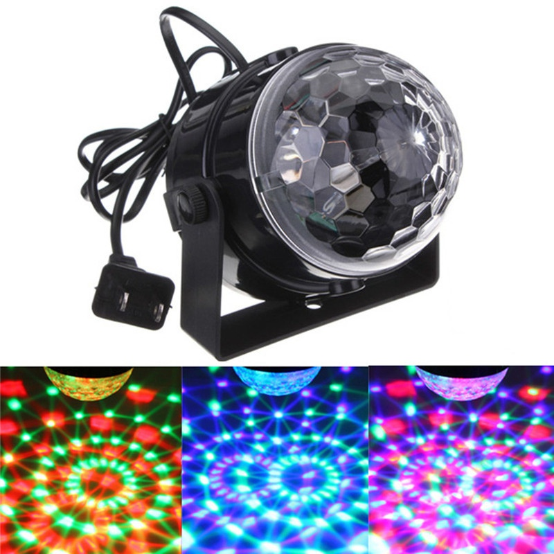 цена на 5W LED RGB Stage Light Auto Sound Voice Control Crystal Magic Ball Stage Lighting Effect Party Disco Club DJ Decor Lamp 110-240V