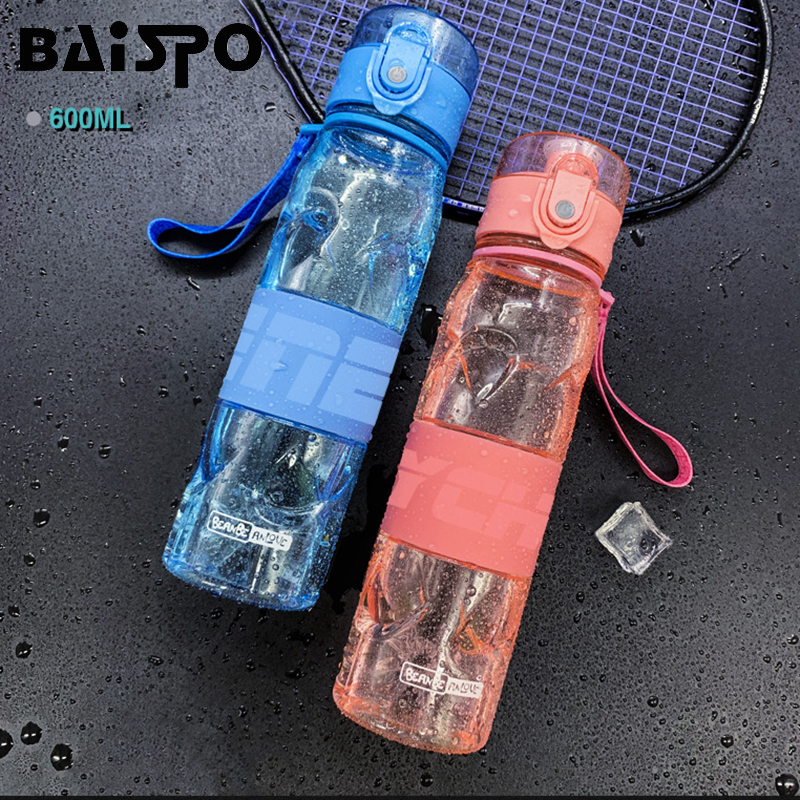 BAISPO 600ML Creative Shaker Bottles Temperature Sensing Protein Powder Sports Kettle Outdoor Portable Leakproof Water Bottles image