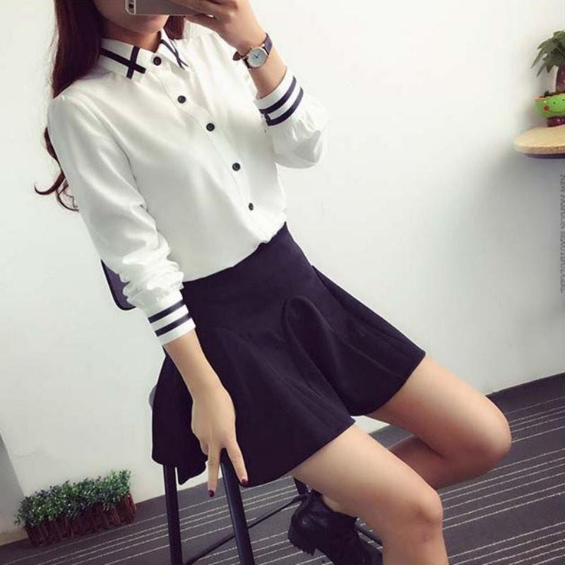HTB1SMBWNXXXXXbPXXXXq6xXFXXXr - Fashion Ladies Office Shirt White Blue Tops Formal