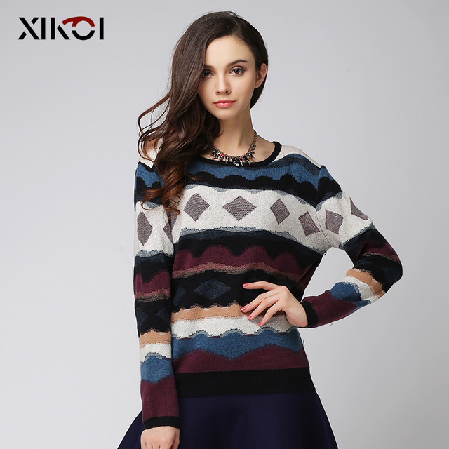 XIKOI New Winter Women Sweaters Clothes Fashion Casual O-Neck Thick Pullovers Computer Knitted Women Sweater Clothing