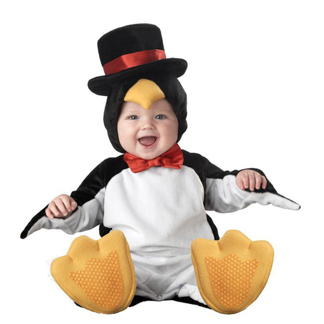 2017 Carnaval de Natal Xmas Halloween Traje Bebê Infantil Meninos Pinguim Macacão Cosplay Roupas Recém-nascidos