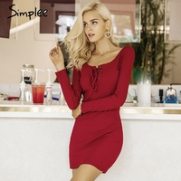 Simplee Elegant Lace Up Women Knitted Dresses Long Sleeve Sexy Elastic Wine Red Sweater Dress Casual