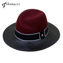 Fibonacci 2018 New Brand Quality Jazz Faux Leather Wool Patchwork Fedora Hat for