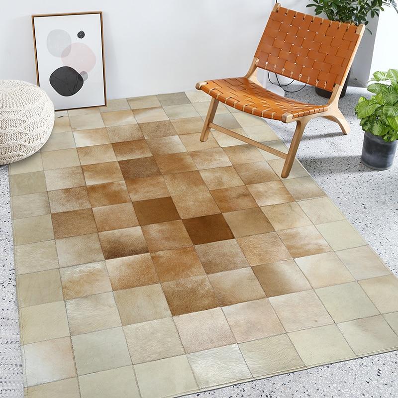 Beige cuir couture tapis nordique géométrique salon canapé table pad chambre chevet patchwork tapis rectangulaire personnalisé