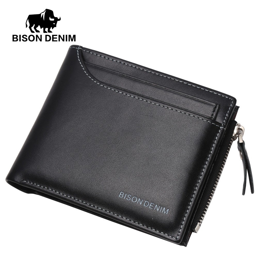 BISON DENIM Genuine Leather Wallet Men Purse Male Bifold Slim Wallet Card Holder Men Wallet With Coin Pocket Black Wallets N4370 laser wireless scanning gun barcode reader express inventory dedicated 32 bit