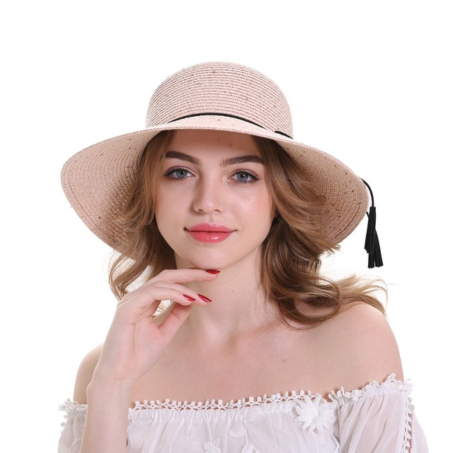 3120d2243ac MEEFUR Summer Beach Hats Rope Solid Bucket Paper Straw Sun Hat Sequins  Foldable Wide Brim UV Protection Cap for Women 7004