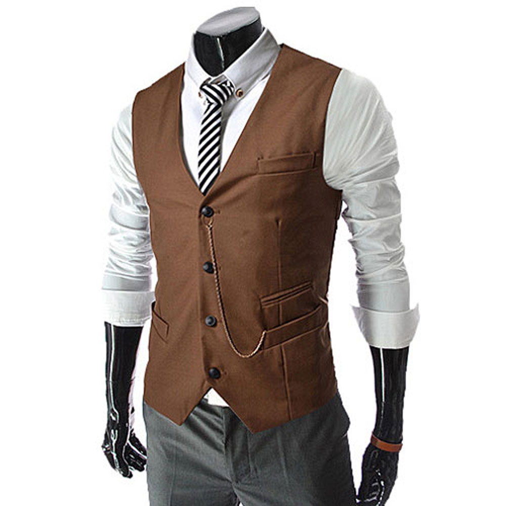 Vintage Men Suit Vest 2015 New Arrival Slim Fit Fashion Designer ...