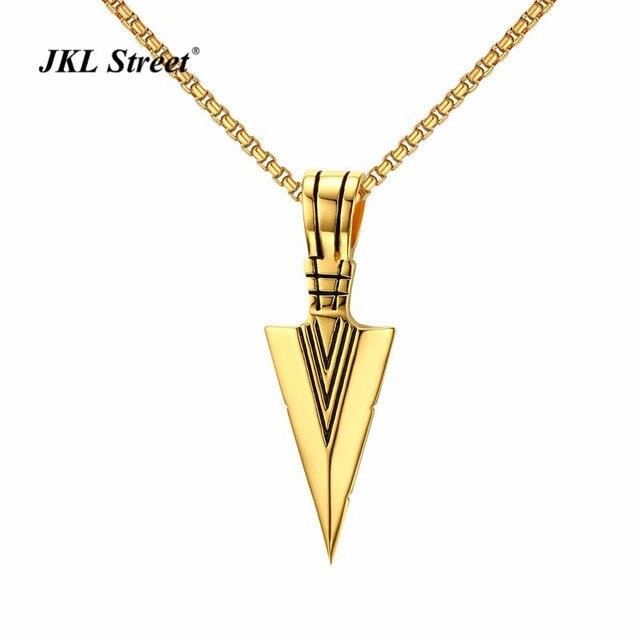 Jkl Vintage Gold Native American Arrow Head Pendant Stainless Steel