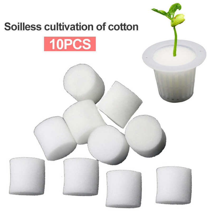 10 pcs Pote Copo Net Cesta De Malha branco + Clone Clonagem Collar Inserção de Espuma Vegetal Hidropônico Planta Cresce A Semente Germinar