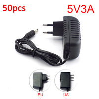 50pcs AC to DC Power Adapter supply 100V 240V Converter adapter DC 5V 3A 3000mA 5.5mm x 2.1 2.5mm for LED Strip Lamp CCTV Camera