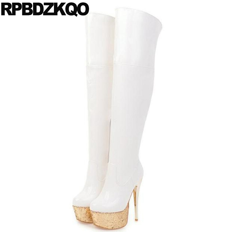9ff288b2792 Over The Knee Patent Leather Pole Dancing 15cm Platform Big Size ...