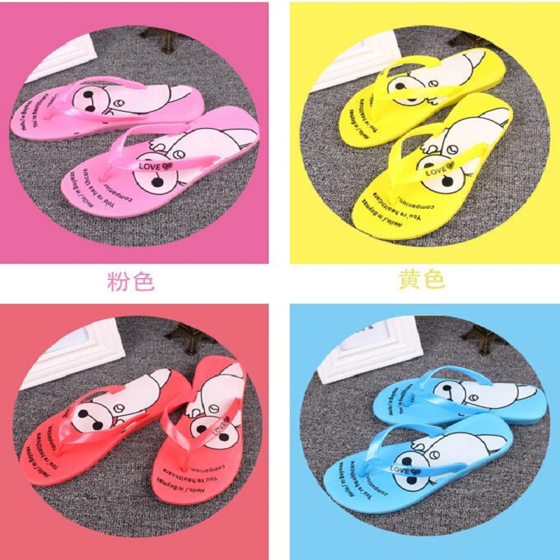 2017 Fashion Summer Flip Flops Women Leisure Flat Slides Female Ladies Beach Shoes Pink Color Girls Lovley  Slippers Big White free shipping candy color women garden shoes breathable women beach shoes hsa21