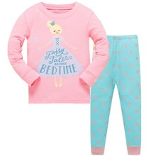 3-8 years free shipping 2019 new design baby girls pajamas sets 100% cotton high quality pyjamas kids