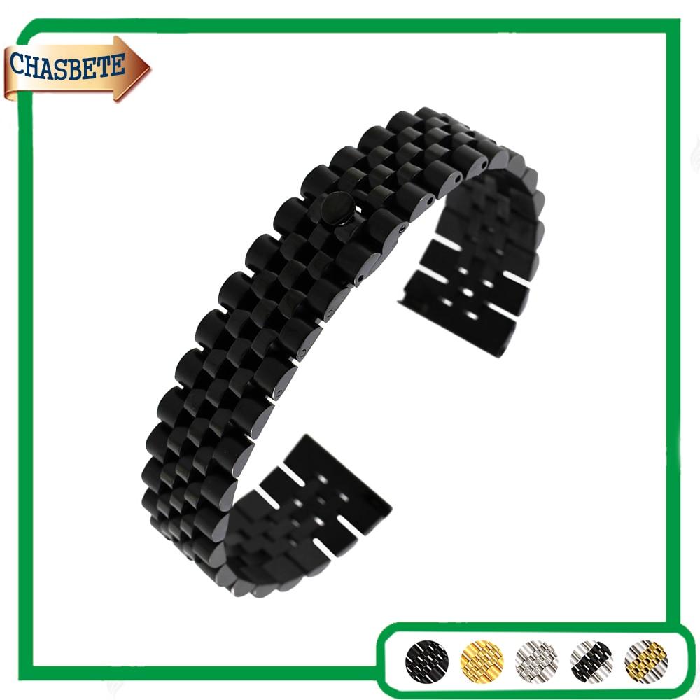 Stainless Steel Watch Band for Fossil Watchband 18mm 20mm 22mm Men Women Metal Strap Belt Wrist Loop Bracelet Black Silver + Pin
