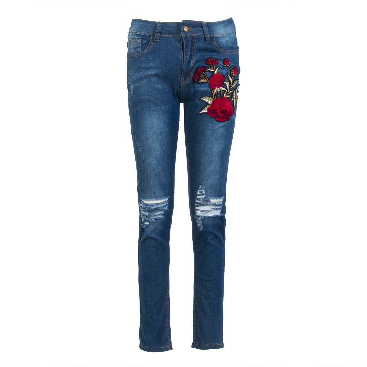 Plus Size Women Denim Skinny Pants High Waist Hole Stretch Trousers Slim Pencil Jeans Stylish Floral Embroidery Pencil Jeans