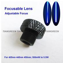 Фокусируемый лазерный объектив регулируемый фокус с трехслойным покрытием стекло M9* 0,5 для 405nm 445nm 450nm 50 mw-5,5 w 1W 2W 2,5 W лазерный модуль