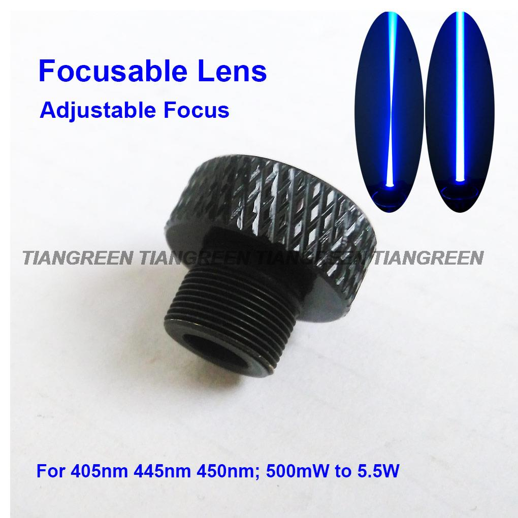 Focusable Laser Lens Adjustable Focus three Layer Coated Glass M9*0.5 for 405nm 445nm 450nm 50mw-5.5w 1W 2W 2.5W laser module 3 5v 450nm 50mw focusable blue laser dot module with aluminum heatsink