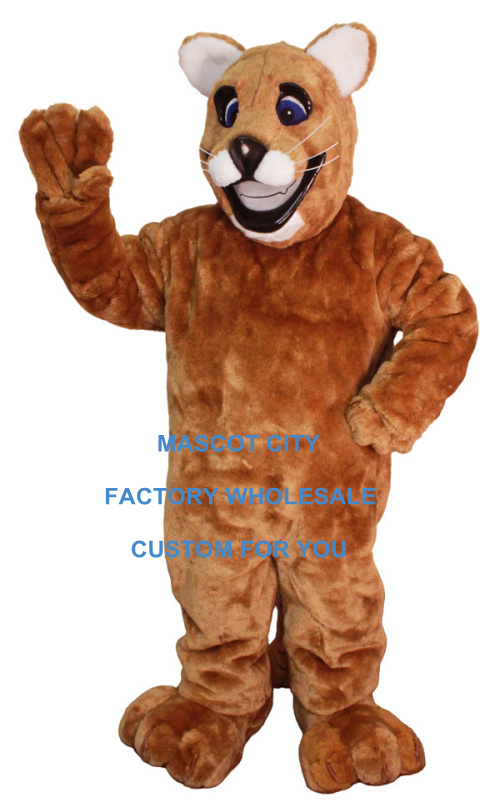 Professional Custom Friendly Cougar Mascot Costume Leopard Panther Puma Outfit Suit Fancy Dress Party Carnival Costume SW648
