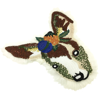 27x27cm Fur Embroidered Deer Head Patch Sequin Beaded Animal Applique Patches For Clothing Appliques Parches Sew