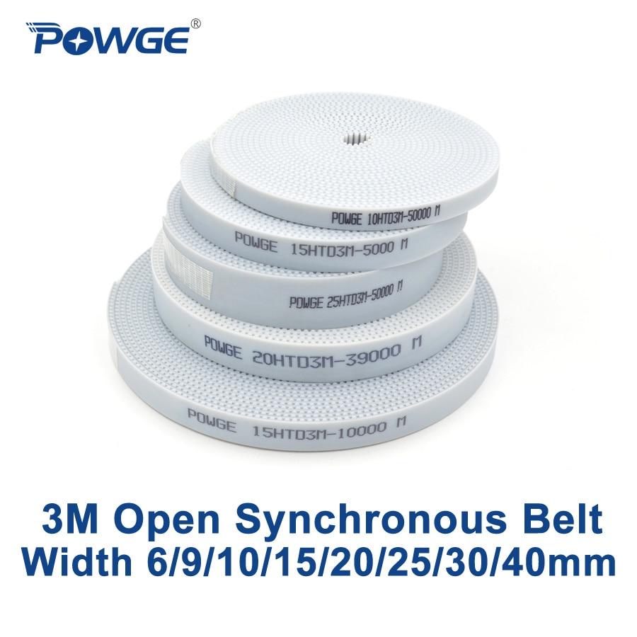 POWGE Arc HTD 3M Open Timing Belt Width 6/9/10/15/20/25/30/40mm Polyurethane Steel PU 3M-15mm HTD3M Synchronous Belt Laser CNC