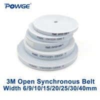 POWGE Arc HTD 3 M correa de distribución abierta ancho 6/9/10/15/20/25 /acero de poliuretano de 30/40mm PU 3 M-15mm HTD3M cinturón sincrónico CNC