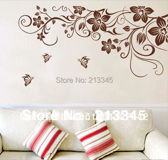 [Fundecor] Transparent PVC Butterfly Flower Vine Sticker Decals Mural Glass  TV Background Decorative Wall