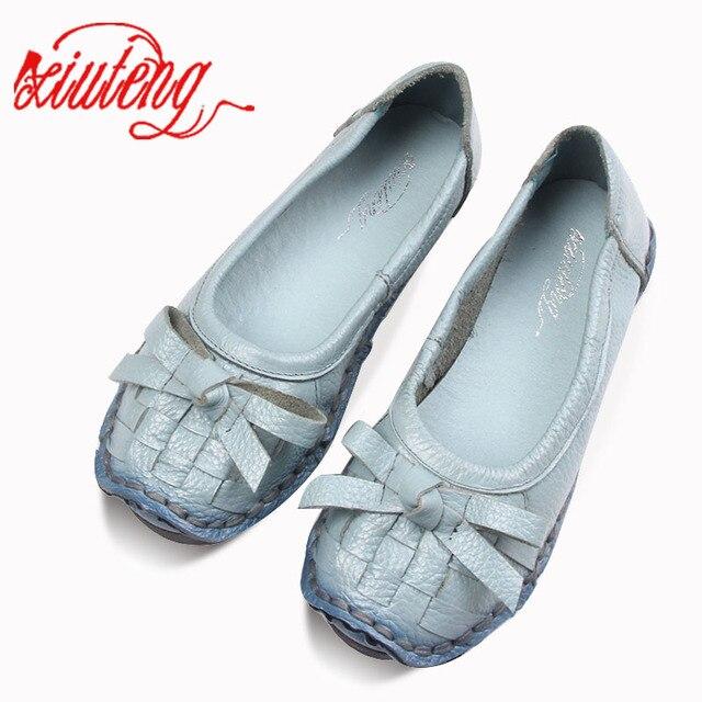 Xiuteng 2019 Bahar Çiçekler Hakiki Deri Yumuşak Alt Düz Topuklu Bayan Ayakkabıları Rahat düz ayakkabı Kadın Yaz Sapato Feminino