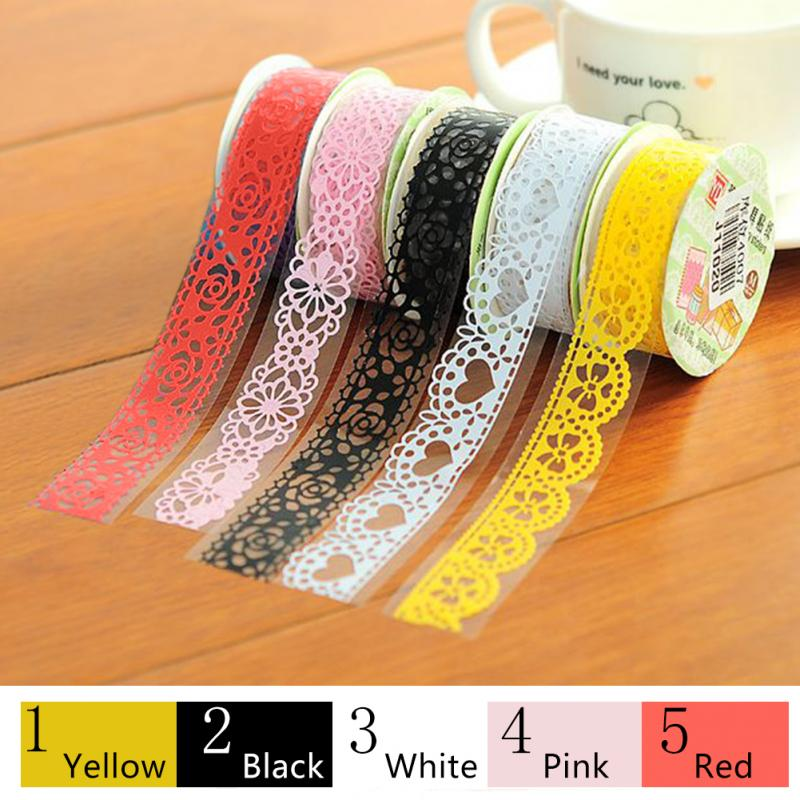 Lace Flower Washi Paper Masking Tapes Gift Scrapbooking DIY Tape Crafts Diary Deco Photo Album Decorative Stickers