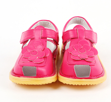 New kids genuine leather sandals flowers non slip sole white hot pink big sale discount cheap good quality bare feet baby shoes