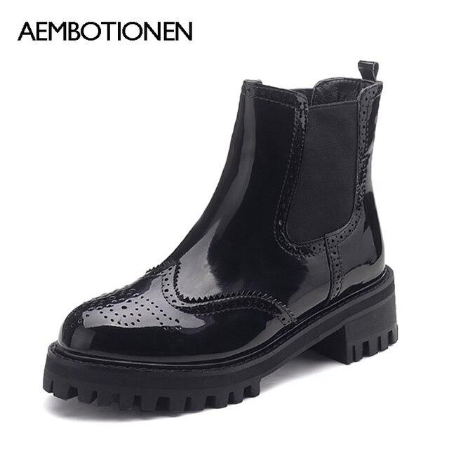 Novas Mulheres Inverno botas PU Tornozelo Botas De Pele de Couro Curta botas de Couro Moda Martin Botas Botas de Neve Mulheres Sapatos de Inverno sapatos
