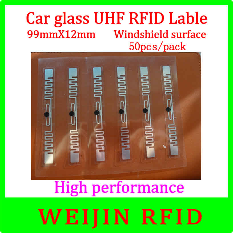 Car glass 9912 UHF RFID Tag 99mm*12mm 50pcs per pack,can be used for  Windshield surface Car management,free shipping. 50pcs 74 21mm rfid gen2 uhf paper tag with alien h3 chip used for warehouse management