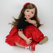 Realistic Baby Doll Sweet Princess Doll 24 inch Lifelike Girls Vinyl Baby Toys Cute Soft Reborn Bebe Toddler Collection Dolls